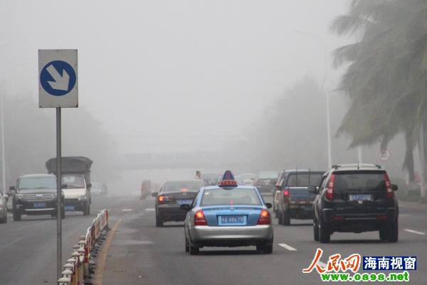 海口城区大雾 高清图片
