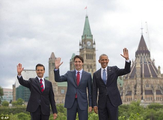 29日,美国总统奥巴马,墨西哥总统涅托,加拿大总理特鲁多齐聚渥太